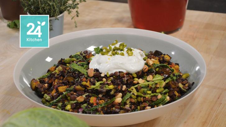 Zwarte rijst, cavolo nero en aubergine pilav