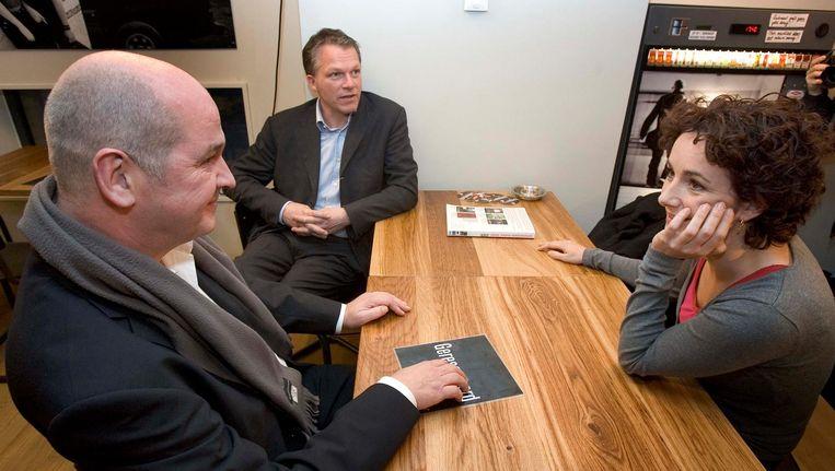 Oud-politici (vlnr) Jan Marijnissen (SP), Wouter Bos (PvdA) en Femke Halsema (GroenLinks) tijdens overleg over linkse samenwerking in 2006. Beeld anp