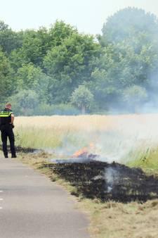 Bermbrand naast fietspad Kapelle
