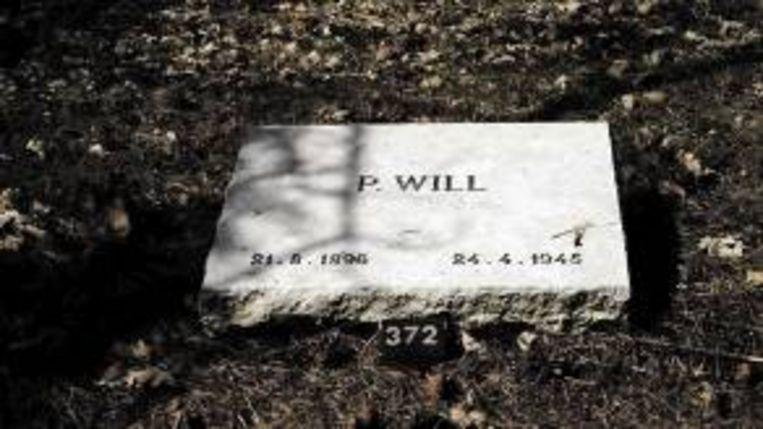 De gedenksteen van Peter Will op de erebegraafplaats in Loenen. (Trouw) Beeld