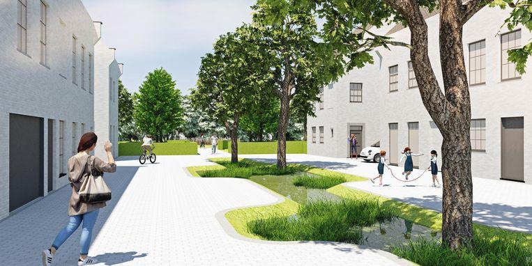 Een toekomstbeeld van het project Monnikenhofstraat-Hazeweg.