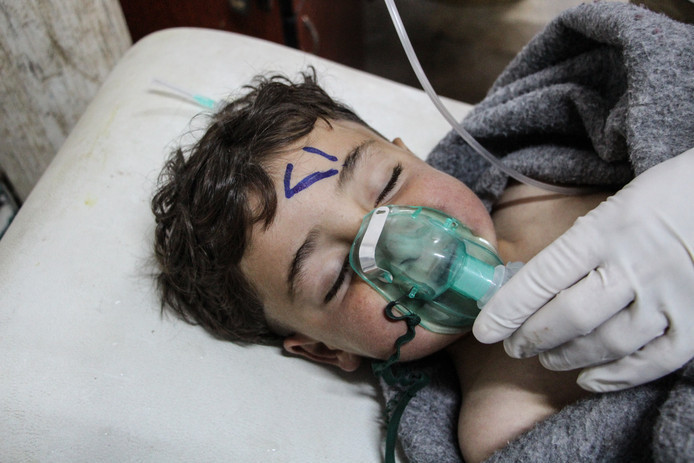 De aanval met het gas Sarin maakte veel slachtoffers, onder wie een aantal kinderen.