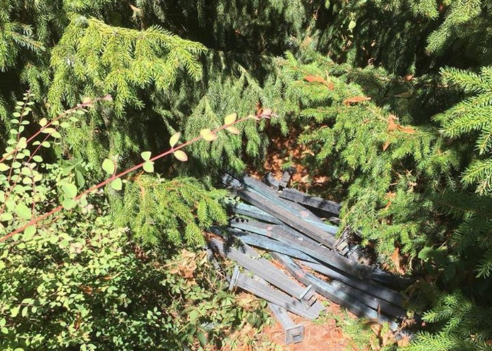 De paaltjes lagen in de bosjes verstopt.