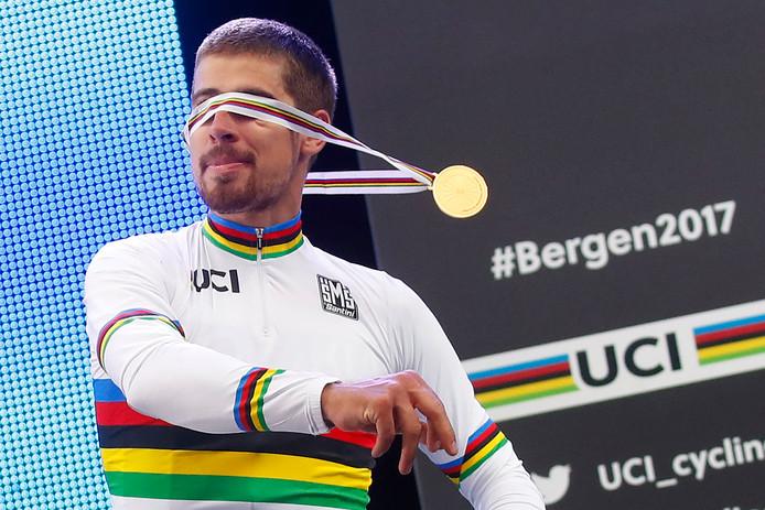 Peter Sagan werd in Bergen wereldkampioen op de weg en dat voor de derde keer op rij