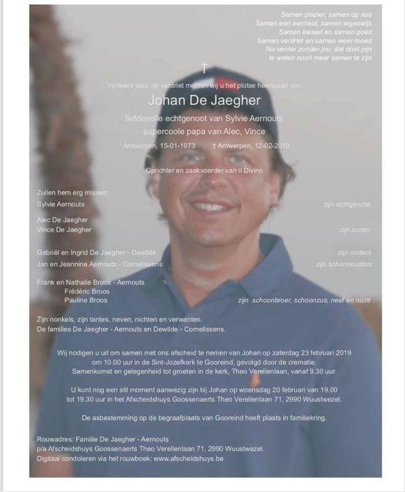 Het overlijdensbericht van Johan.