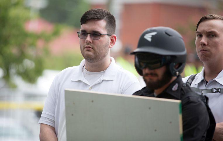 James Fields tijdens de betoging in Charlottesville, Virginia.