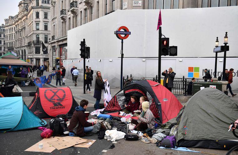 Betogers logeerden in tentjes aan Oxford Circus.