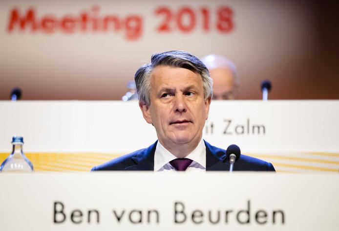 Ben van Beurden vorig jaar voor de jaarlijkse Shell-aandeelhoudersvergadering in het Scheveningse Circustheater