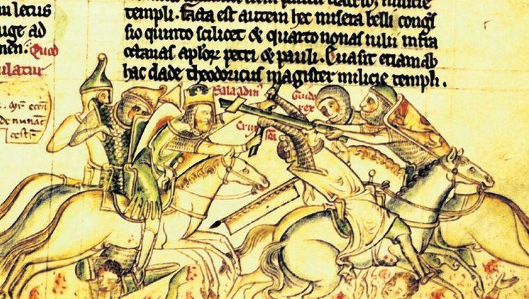 null Beeld Een afbeelding van Saladin en de slag bij Hittin, opgetekend door monnik Mathew Paris.