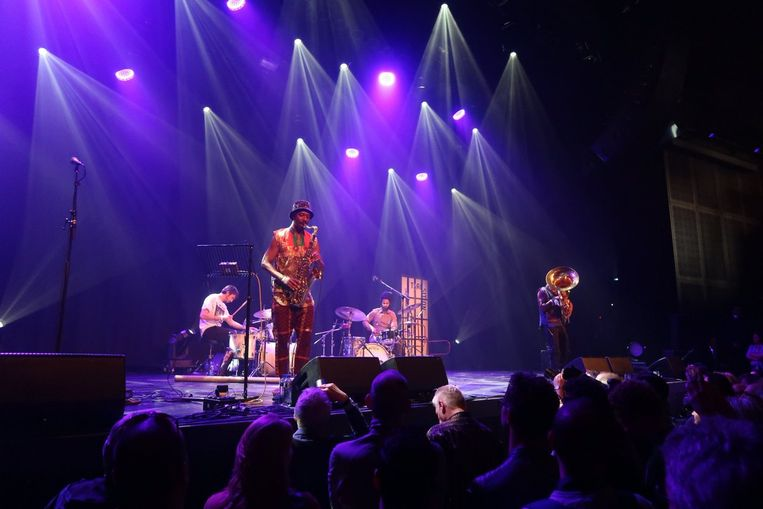 Sons of Kemet met saxofonist Shabaka Hutchings op Transition in Utrecht. Beeld Twitter