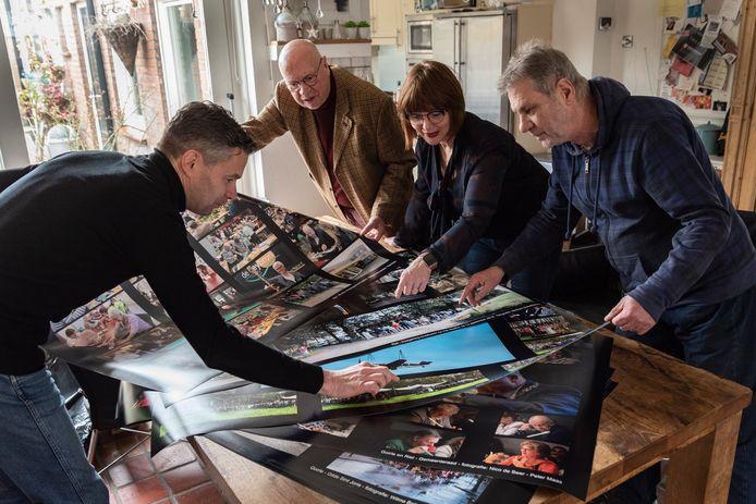 De organisatie van Goirle Middendoor controleert de collages: Peter Maas, Nico de Beer, Wilma Baijens en Cees van Poppel (vlnr).