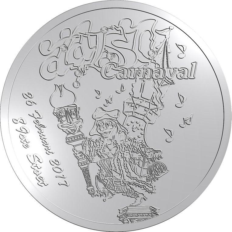 De munt met daarop de carnavalsaffiche.