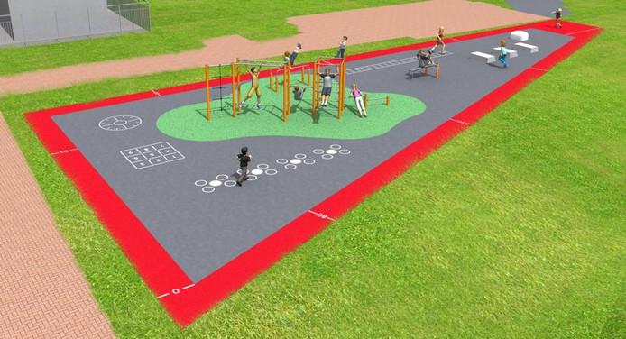 Zo komt het Calisthenicspark aan de Kwadestraat eruit te zien. Met een groene, valdempende bodem en een warmloopbaan.