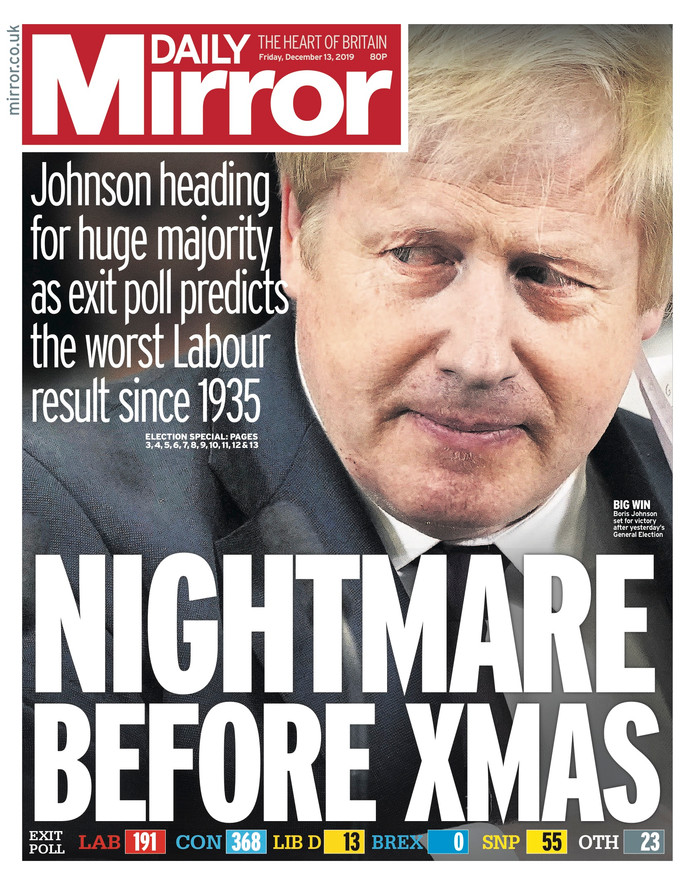 """Le Daily Mirror, rare tabloïd de gauche, évoque un """"cauchemar avant Noël."""""""