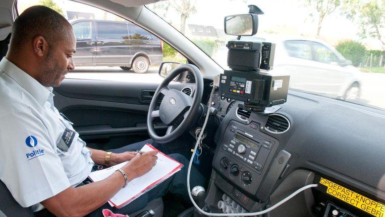 Ook het politiekorps van Oudenaarde trok tijdens de flitsmarathon de baan op, met mobiele camera's.