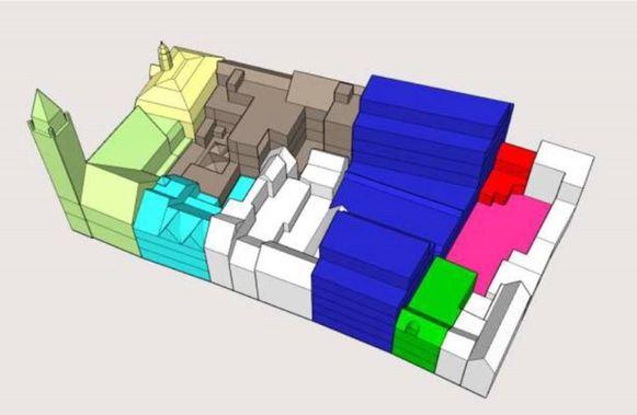 De gekleurde blokken op het plan zijn panden die de stad in eigendom heeft. Samen vormen ze de projectzone voor het nieuwe stadhuis.