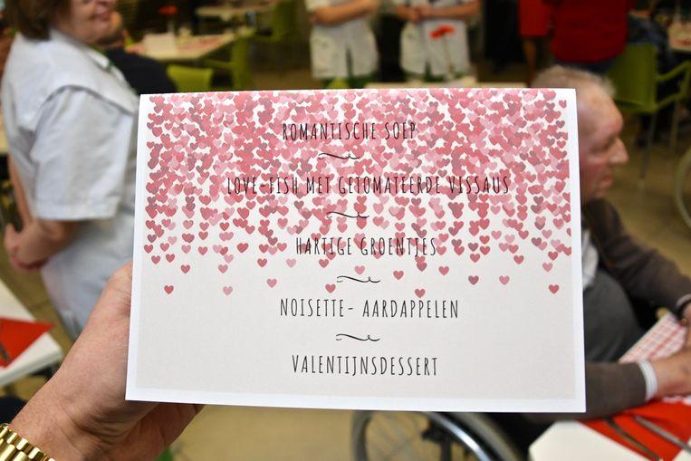 De menu voor het valentijnsdiner in rusthuis De Waterdam.