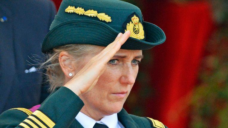 Prinses Astrid, die de rang van kolonel bij de medische component van het leger heeft, op het defilé editie 2015.