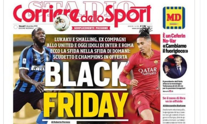 De voorpagina van Corriere dello Sport
