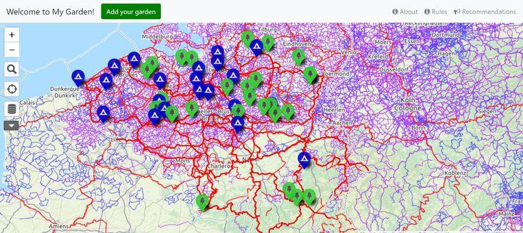 Dankzij de online kaart van 'Welcome to My Garden' zie je in een oogopslag allerlei kampeerplekken.