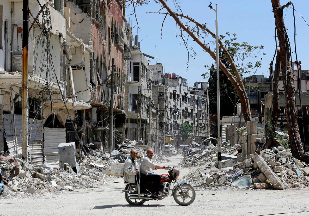 Douma, Syrië in puin.