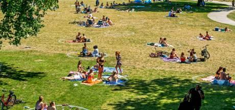 Cirkels in Utrechtse parken om afstand te houden