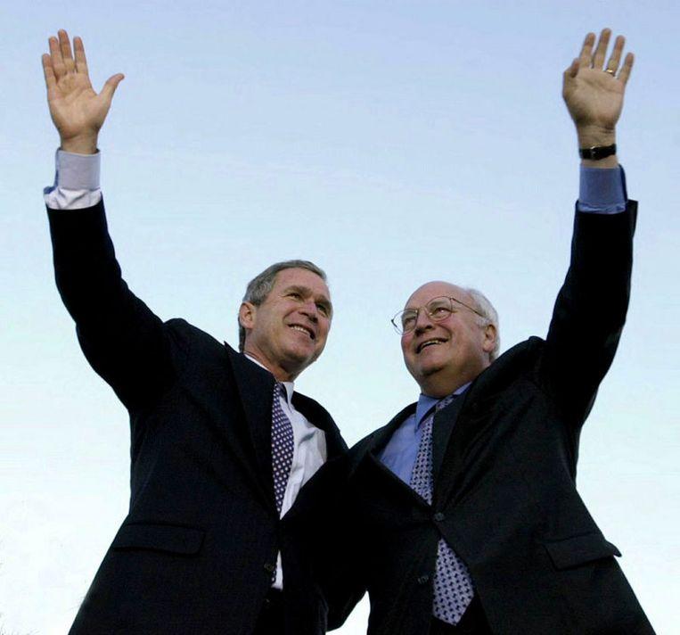 Voorbije tijden: Bush en Cheney tijdens de campagne in 2000. Foto AP Beeld