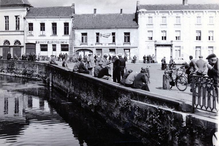 Een beeld van een staking van de textielarbeiders in 1958.