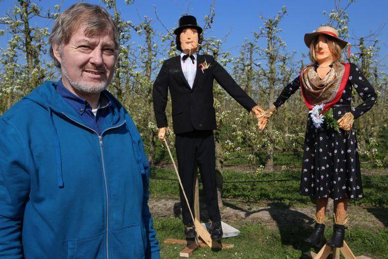 Kunstenaar Gilbert Strouven kwam twee jaar geleden op het idee om de vogelverschrikkers in de velden een nieuw leven te geven. Daarom creëerde hij Jef en Florentine.