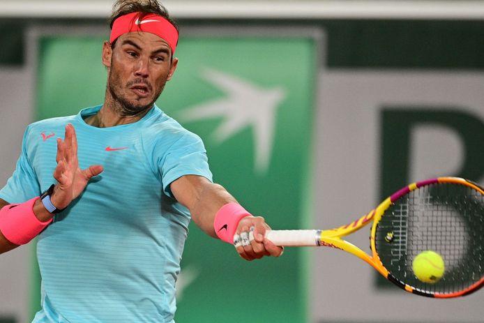 Nadal tijdens de kwartfinales van Roland Garros.