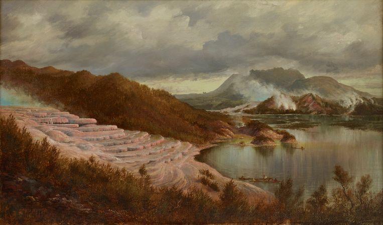 Een schilderij van de Rotomahana-terrassen. Beeld Charles Blomfield, 1885