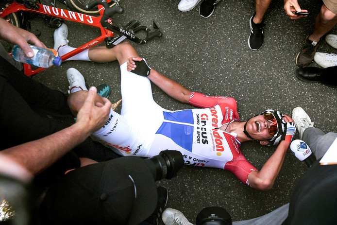 Mathieu van der Poel na zijn imponerende Amstel Gold Race-zege.