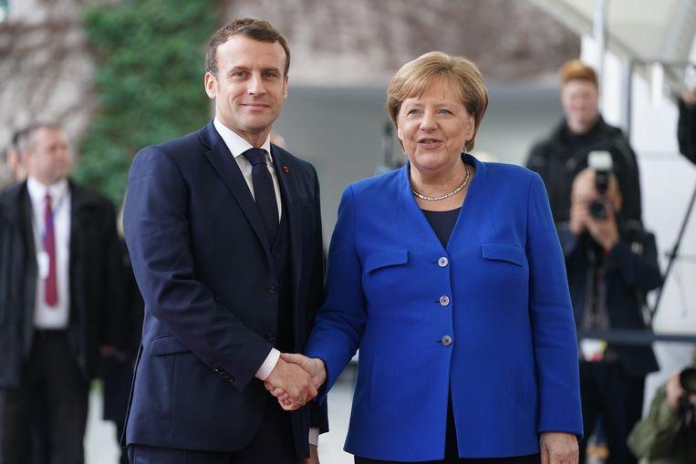 De Franse president Emmanuel Macron en de Duitse bondskanselier Angela Merkel, hier op een archiefbeeld uit januari.