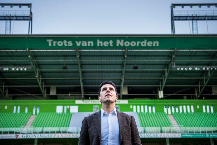 Wouter Gudde in het stadion van FC Groningen.
