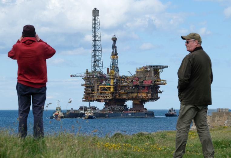 Olieplatform Brent Bravo van Shell werd in 2019 ontmanteld.  Beeld Getty Images