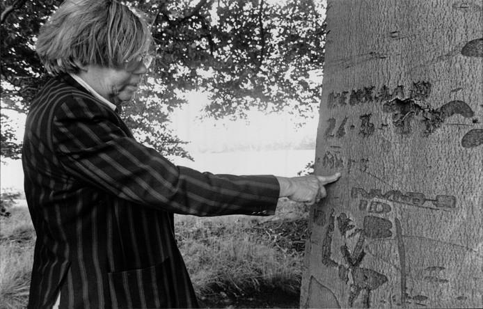1992: dichter H.H. ter Balkt bij de boom waarin hij in de jaren 40 zijn naam heeft gekerfd.