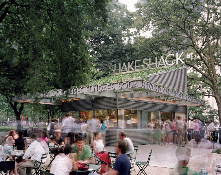 Het eerste Shake Shack-filiaal in New York. Beeld null
