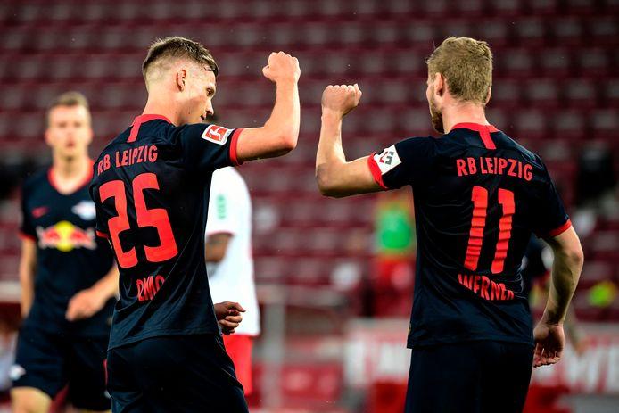 Leipzig-doelpuntenmakers Olmo (l) en Werner.
