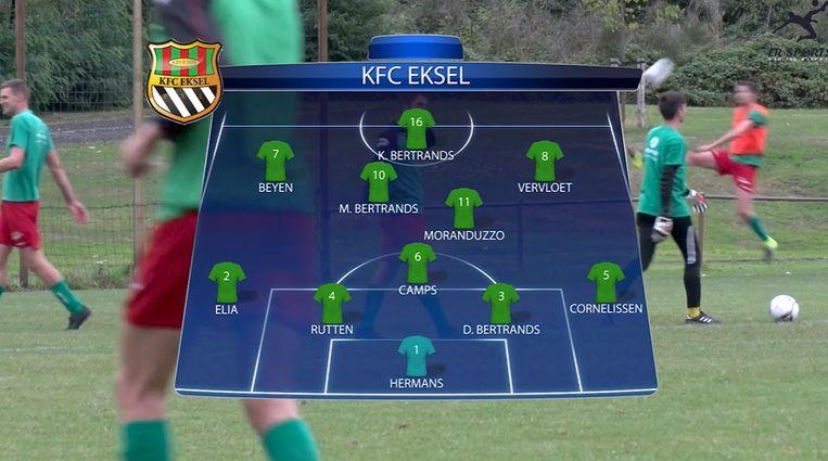 Bij KFC Eksel wordt de formatie grafisch voorgesteld in ware Champions League-stijl