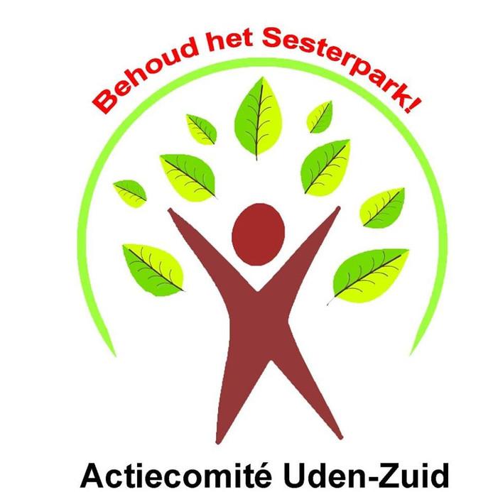 Met flyers maakt de actiegroep Uden-Zuid attent op het initiatief om het Sesterpakr te behouden.