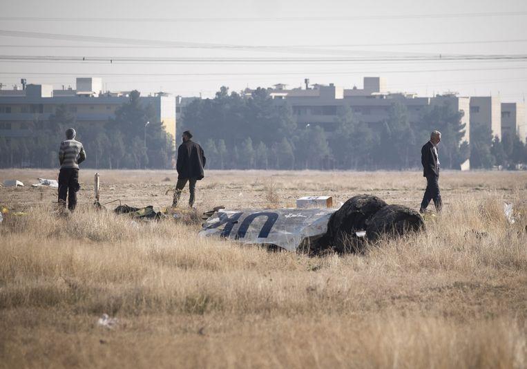 Wrakstukken van het Oekraïense lijnvliegtuig dat op 8 januari werd neergeschoten.