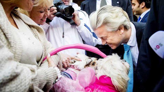 PVV-leider Wilders op campagne op de Loosduinse Markt in Den Haag.