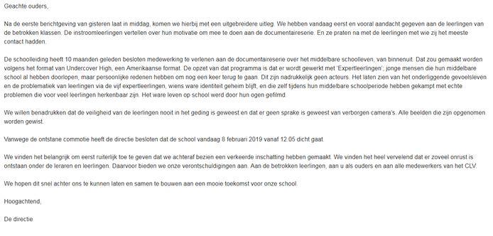 De mail die de ouders van de leerlingen van het CLV kregen.