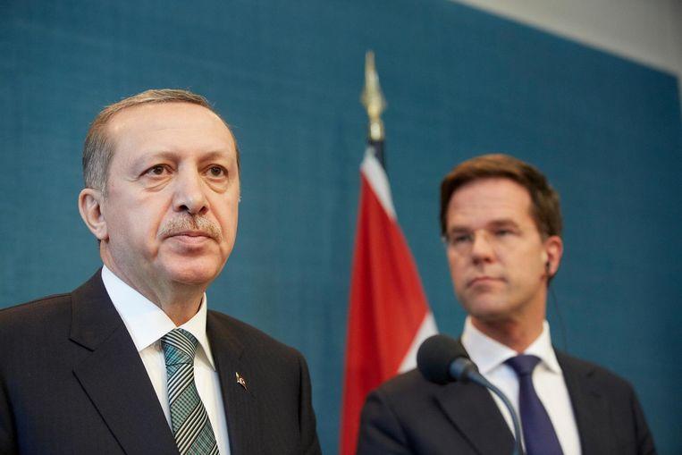 Erdogan en Rutte tijdens een officieel bezoek van de Turkse president aan Nederland in 2013. Beeld anp