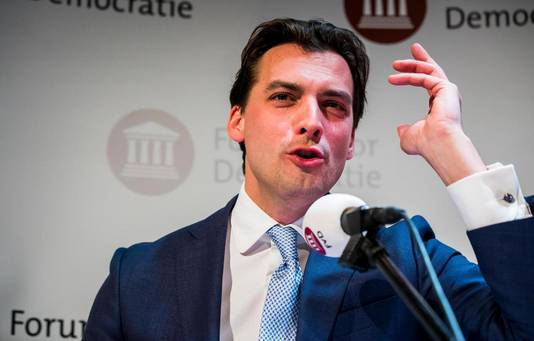 Thierry Baudet (FvD) tijdens zijn nu bekritiseerde speech op de uitslagenavond van de Provinciale Statenverkiezingen