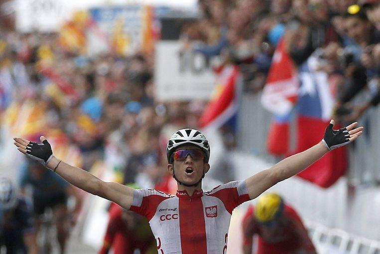 Kwiatkowski wint de wegrit van de WK wielrennen in Ponferrada. Beeld epa