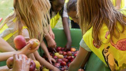 Schoolkinderen kruipen in de huid van een fruitboer
