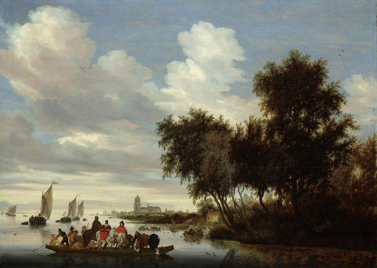 Salomon van Ruysdael, Rivierlandschap met een veerboot, 1649. Beeld Foto Rijksmuseum