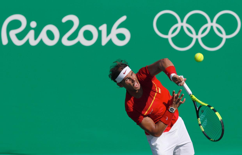 Rafael Nadal tijdens de Spelen in Rio. De tennisser verloor er de strijd om het brons. Beeld AP