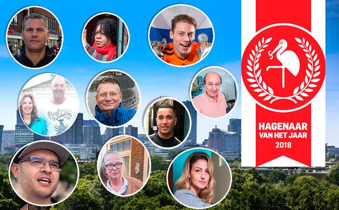 De tien genomineerden voor de verkiezing Hagenaar van het jaar 2018.